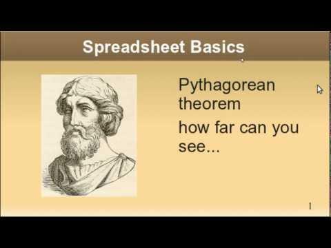 Spreadsheet Basics PYTHAGOREAN THEOREM