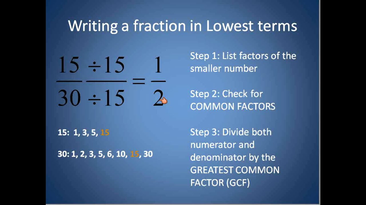 Fractions in Lowest Terms (Simplifying Math) - YouTube