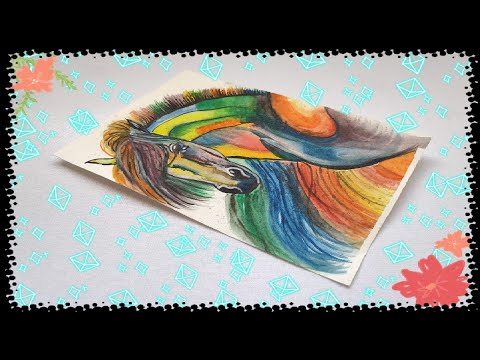 Colourful Horse Portrait by Varsha | Water Color Painting | Modern Art