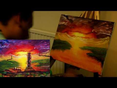20. Painting sunset landscape