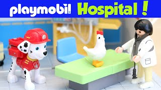 Playmobil Hospital Unboxing Paw Patrol Chickaletta Goes to the Doctor