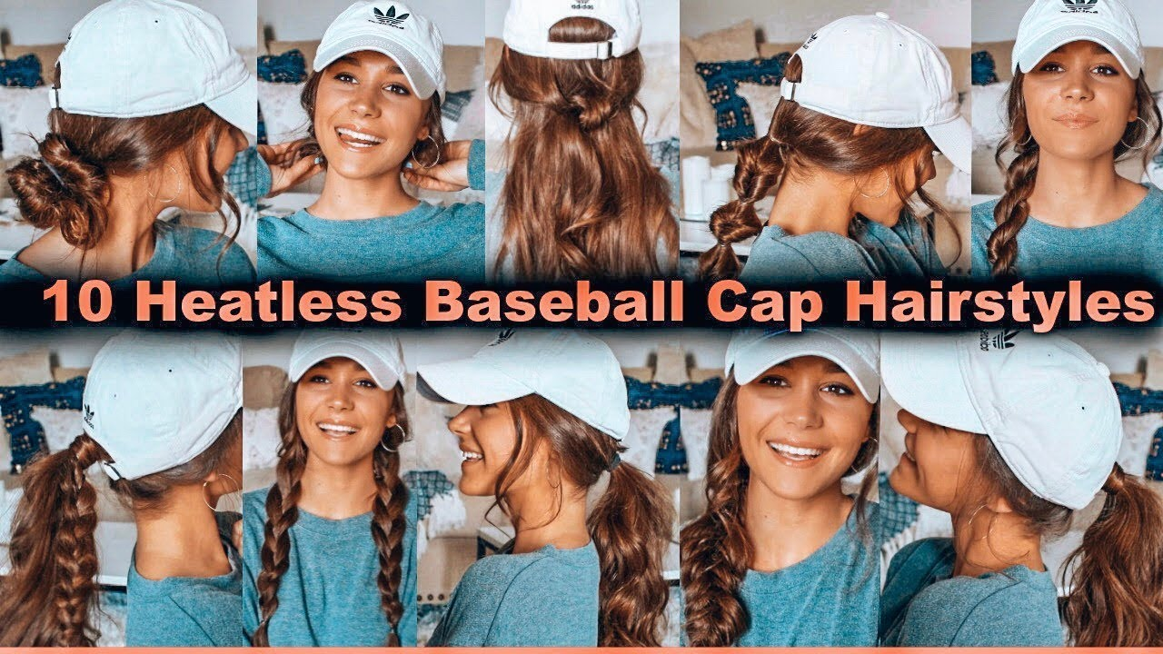 10 Heatless Baseball Cap Hairstyles Youtube