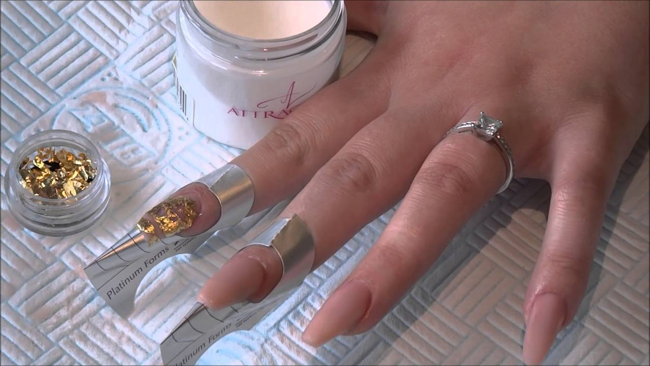 Nude Design With Gold Leaf Accent Nail - YouTube