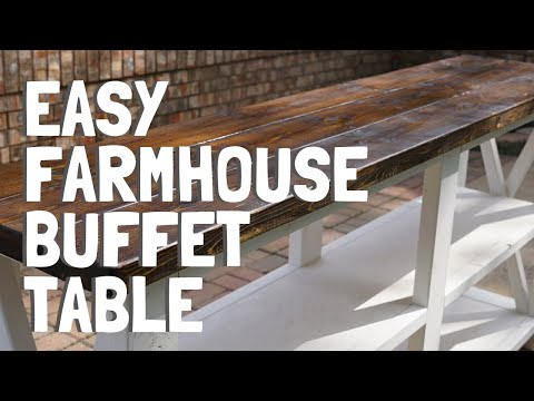 DIY BUFFET TABLE Farmhouse Sofa Table Console Buffet - TV Stand - 6 Minute Video