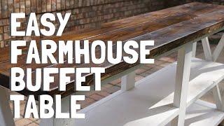 Thaostudios.com - farmhouse sideboard console x buffet table rustic style diy.