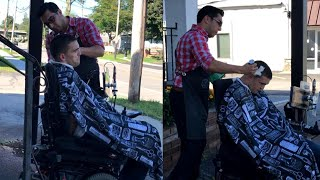 Barber Cuts Hair of Man in Wheelchair on Sidewalk When He Can't Get Into Shop
