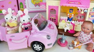 Baby doll shop and Pet care house toys car play - ToyMong TV 토이몽