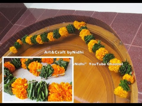How To Make Diy Fresh Marigold Flower Amp Asopalav Leaf