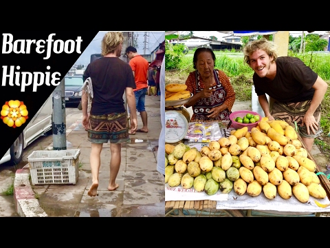 BAREFOOT FRUITARIAN HIPPIES at a fruit market in Thailand
