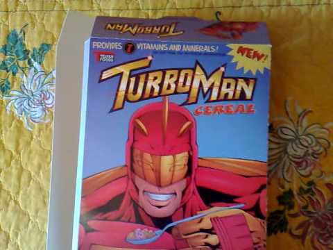 Turboman Cereal Box from the movie Jingle all the way
