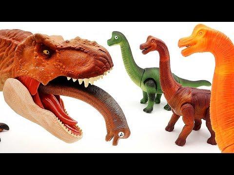 Toy Dinosaurs T-Rex Dino Walking Brachiosaurus Laying Egg Battle video For Kids Funny Video