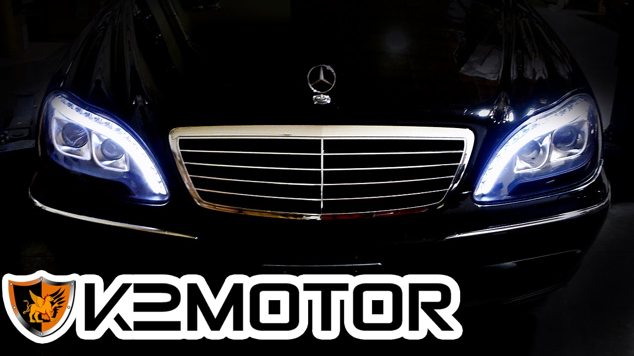 small resolution of k2motor installation video 1998 2006 mercedes benz s class w220 led projector headlights