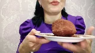 Asmr Mukbang Торт красный бархат Cake red velvet