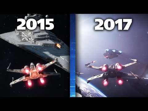 Star Wars Battlefront 1 (2015) vs Battlefront 2 (2017) Graphics Comparison of Space Battles!
