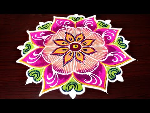 latest freehand kolam for margazhi - multi colour rangoli design - simple muggulu without dots