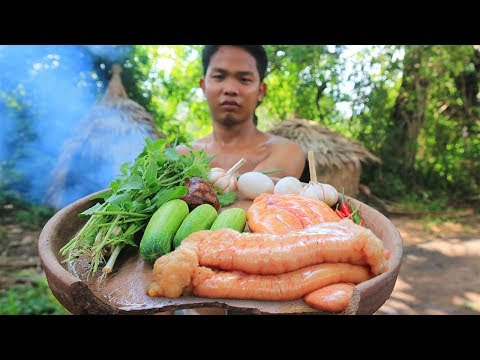 Primitive Technology: Cooking Fish Eggs Free Energy Food | W