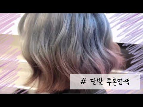 단발 투톤염색 (애쉬블루 + 인디핑크) 단발옴브레 ☆ 염색얼룩지우기
