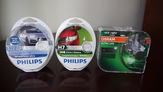 Philips WhiteVision Ultra, EcoVision vs OSRAM Ultra Life