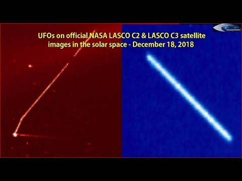 nouvel ordre mondial | UFOs on official NASA LASCO C2 & LASCO C3 satellite images in the solar space - December 18, 2018