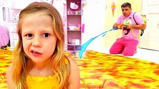 O chão é lava, papai salva Nastya da lava