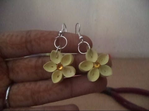 Papercraft Quilled Earrings : Beautiful tight coil flower