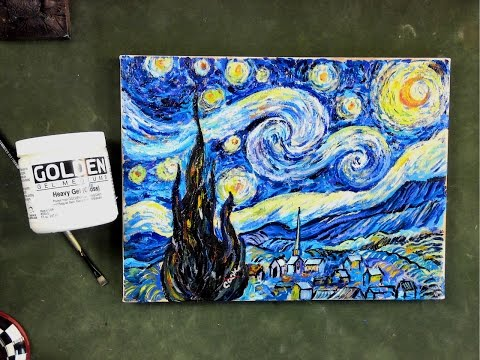 Step by Step Van Gogh's Starry Night using  Impasto Acrylic