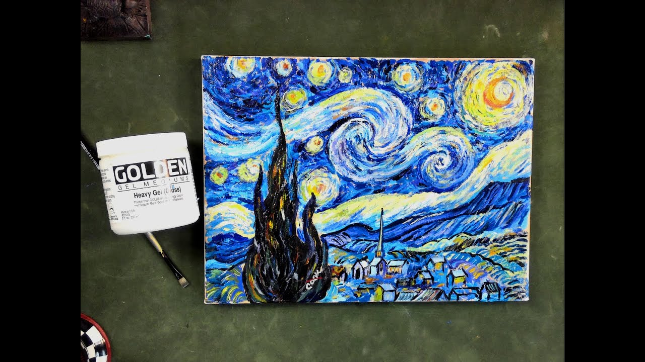 Step by step van gogh 39 s starry night using impasto acrylic for Step by step painting tutorial