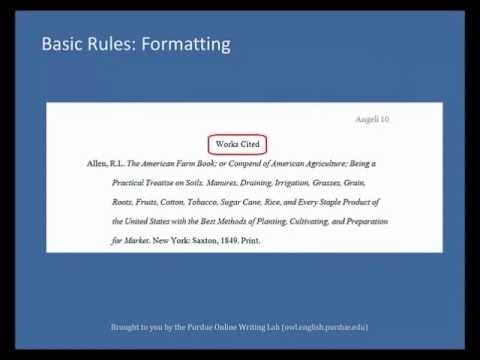 Purdue OWL MLA Formatting List of Works Cited - YouTube - Mla Work Cited Book
