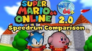 SM64O Net64 2.0 Speedrun Comparison of Sonic and Kirby