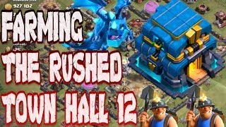 MASS MINER FARMING ON THE RUSHED TOWN HALL 12!!! CLASH OF CLANS