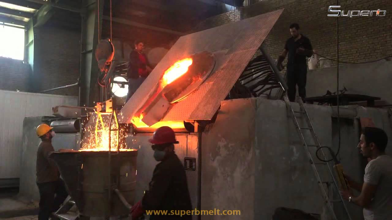 induction furnace in foundry - YouTube