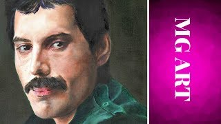 Painting Freddie Mercury in acrylics and oils - timelapse video
