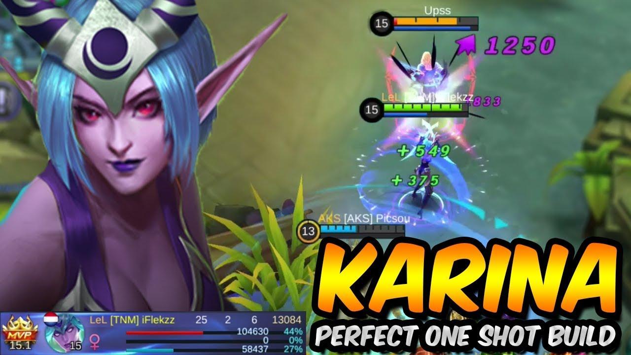 25 kills perfect karina one shot build! - mobile legends