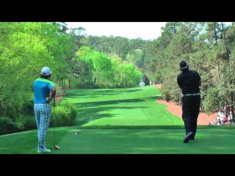 Rickie Fowler,Phil Mickleson,Dustin Johnson,Matt Kuchar P Lawrie hitting drives on 11, Augusta 2013