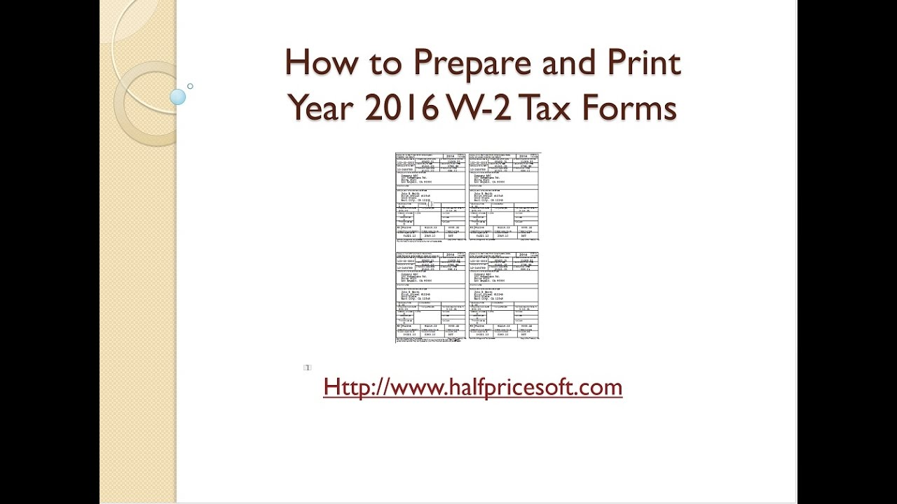 How to Print W2 Form for Year 2016 - YouTube