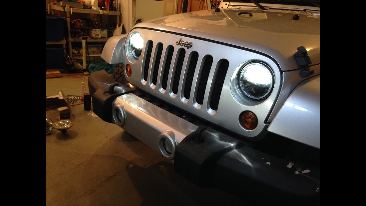 jeep jk trucklite led headlight install - youtube