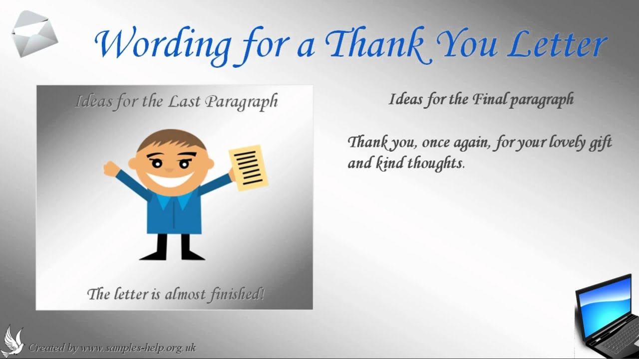 Sample thank you letter YouTube – Thank You Note Sample