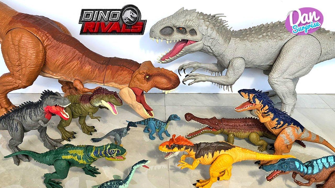 TEAM T-REX VS INDOMINUS REX! Jurassic World Dangerous Dinosaurs Battles!