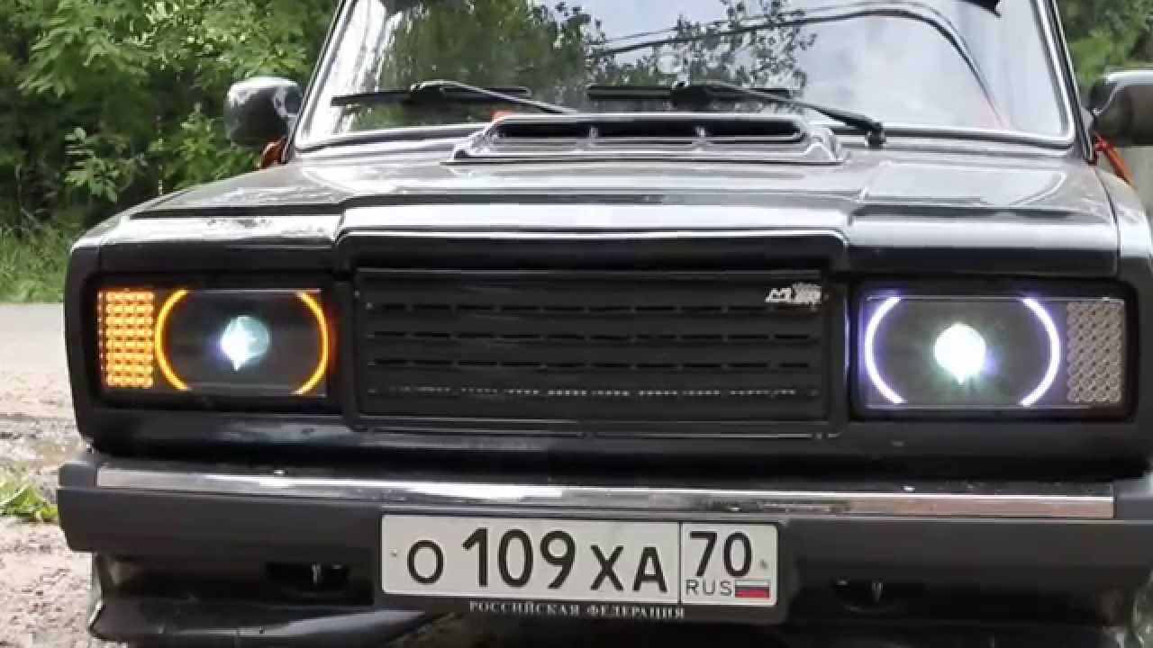 задние диодные фонари voland на ваз 2107 - YouTube