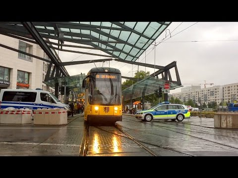 Tram and Bus in Dresden on the day of German unit / Germany, 03.10.2016
