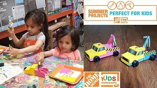 DIY Toy Tow Truck at Home Depot Kids Workshop | Summer Fun Activities For Kids |Mytwolittlesunshines