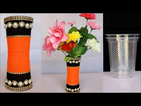 Beautiful Flower Vase Making at Home    Handmade Craft Idea    Beat out of waste Idea    DIY