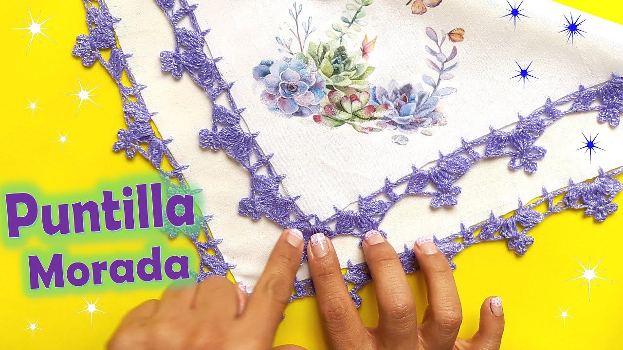 Puntilla morada con media flor a crochet + Muy FÁCIL y RÁPIDA  👍😍 Principiantes.