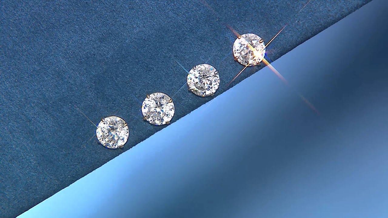 Diamonique 100 Facet 2 00 Ct Tw Stud Earrings 14k Gold With Jennifer Coffey You