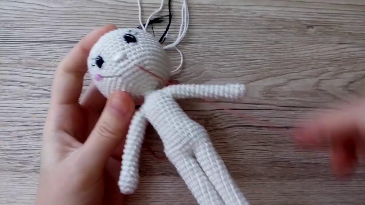 как вышить лицо вязаной кукле для начинающих Youtube