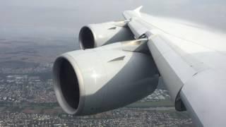 A380 extending Slats on Approach Frankfurt Airport ex San Francisco