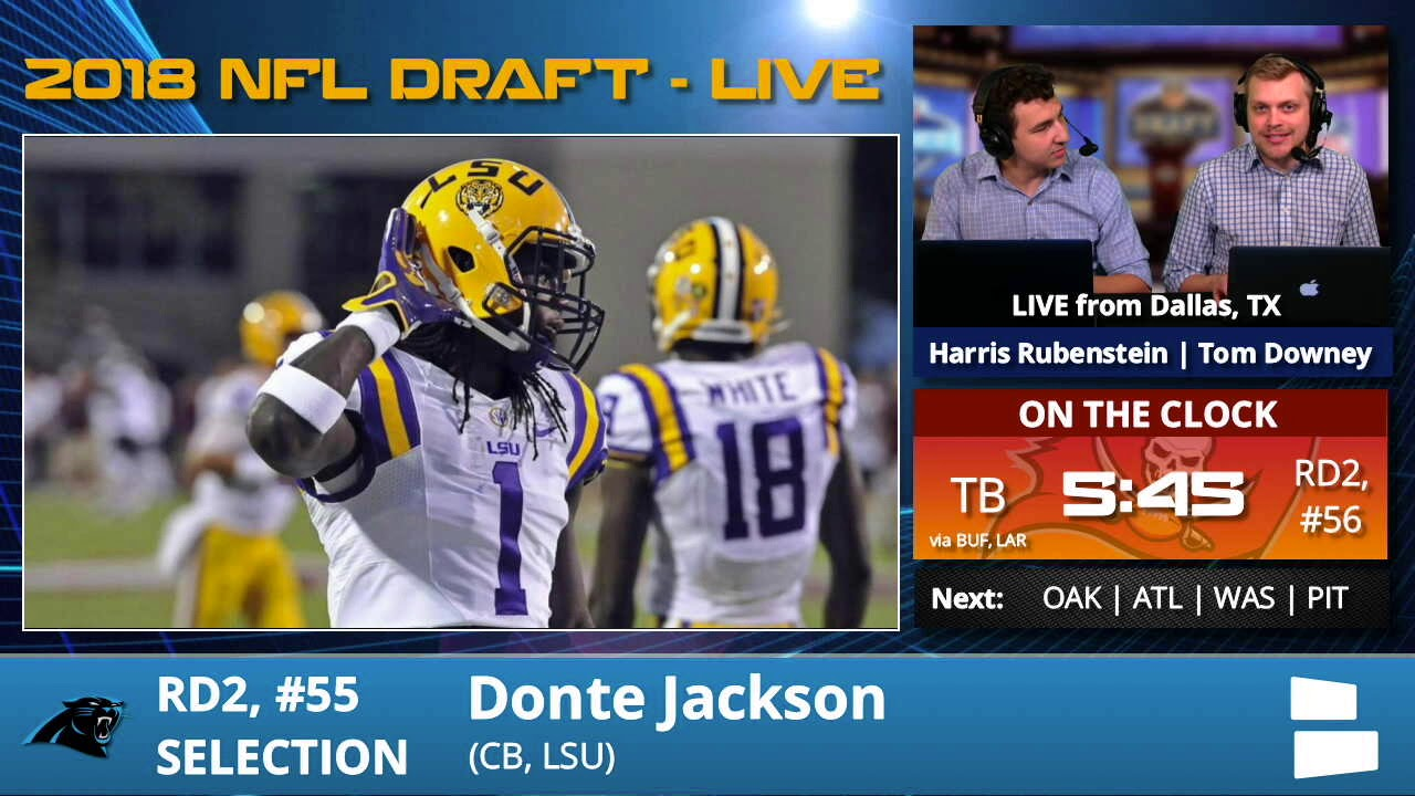 14d8ffeca Carolina Panthers Select CB Donte Jackson From LSU With Pick  55 In 2nd  Round Of 2018 NFL Draft