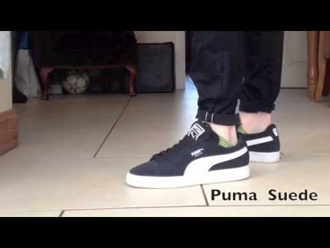 separation shoes 96a84 5d98c PUMA Suede Black and White On Feet