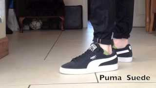 PUMA Suede Black and White On Feet