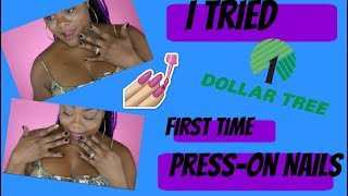 I TRIED DOLLAR TREE PRESS ON NAILS FOR THE FIRST TIME!!! UM SHOOK!